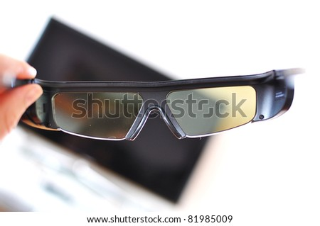 3D glasses against TV-set