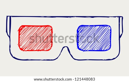 3-D Glasses. Doodle style. Raster version