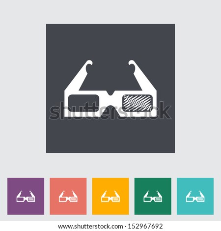 3D glasses single flat icon
