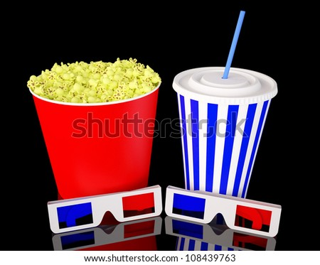 3d glasses with popcorn and soda drink