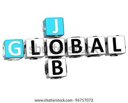 3D Global Cloud Job Crossword cube words on white background