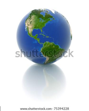 3d globe - america