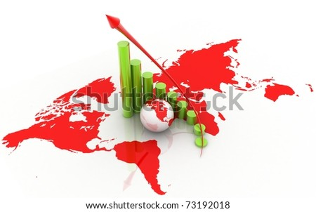 3d globe and business graph on white background