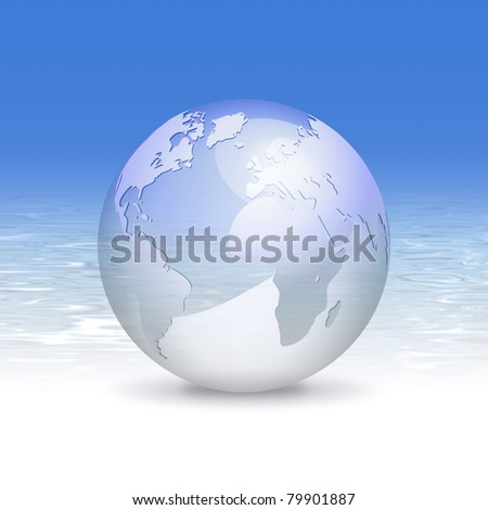 3d globe and fresh blue water background - eco business design, clean world and travel concept