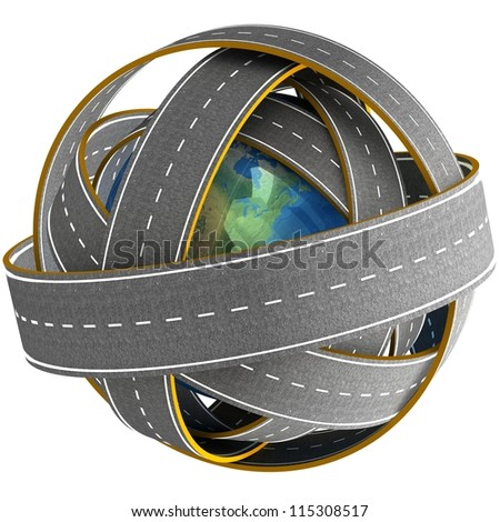 3d Globe and roads around it. Elements of this image furnished by NASA.