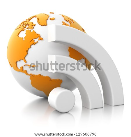 3d globe icon - wifi, rss isolated on white background