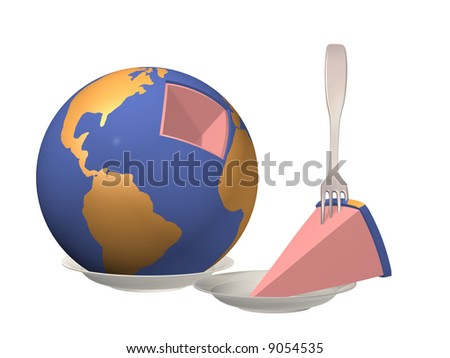 3d Globe laying on a plate with the cut out piece
