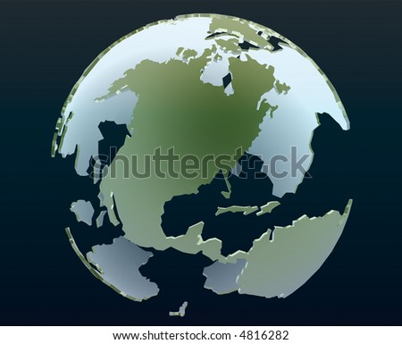 3d globe of the world focusing on America - stock photo
