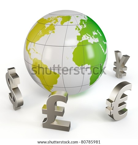 3d globe with currency symbols isolated on white