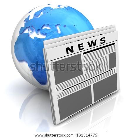 3D globe with newspaper