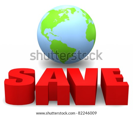 3D globe with the word SAVE.