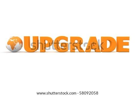 3D globe with word Upgrade in orange