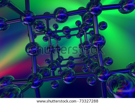 3D glossy crystal structure on multicolored background