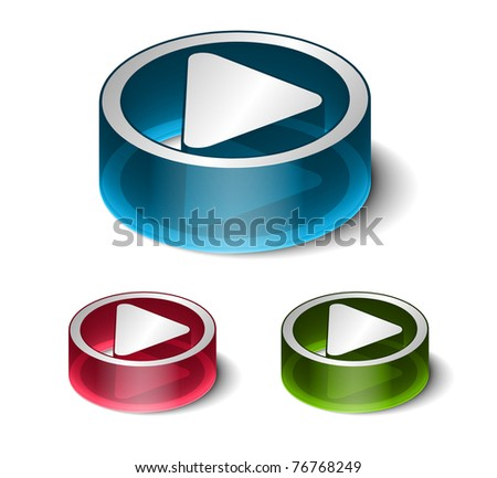 3d glossy play icon, includes 3 color versions.