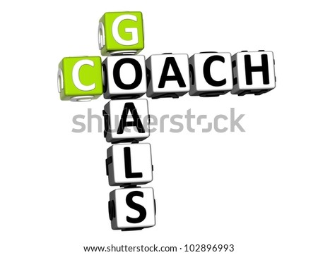 3D Goals Coach Crossword on white background