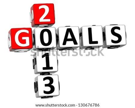 3D Goals 2013 Crossword on white background