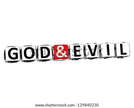 3D God And Evil Button Click Here Block Text over white background