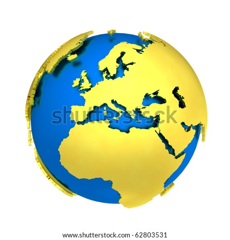 3d gold and blue concept of globe
