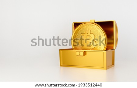 3d gold bank. 3d render for jackpot winner. Treasure chest with bit coin isolated on white background abstract. Surprise inside open money box with bitcoin. Cryptocurrency or crypto currency symbol.