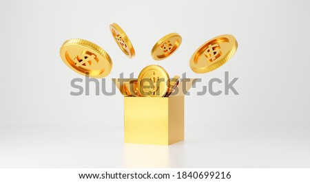 3d gold bank. 3d rendering for jackpot winner, casino poker and budget concept. Dollar cash money box symbol. Surprise inside open box isolated on white background abstract with golden coins.