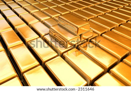 3d gold bars with gold floor - stock photo