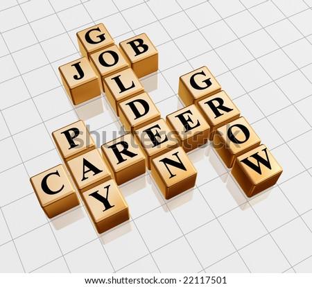 3d gold boxes with text - golden job, career, grow, pay, crossword