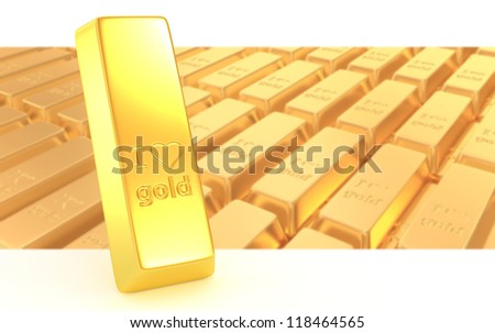 3d gold bullions with hearts background