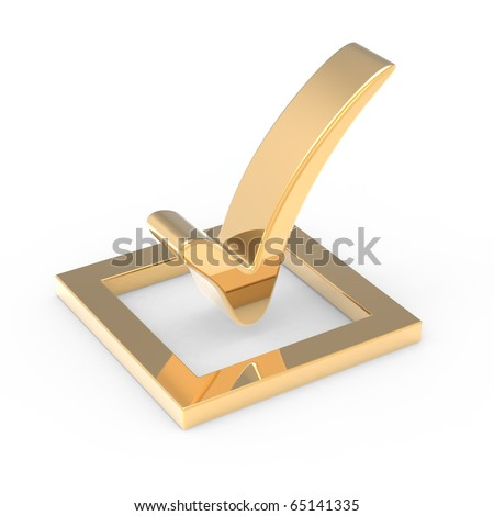 3D gold check mark sign