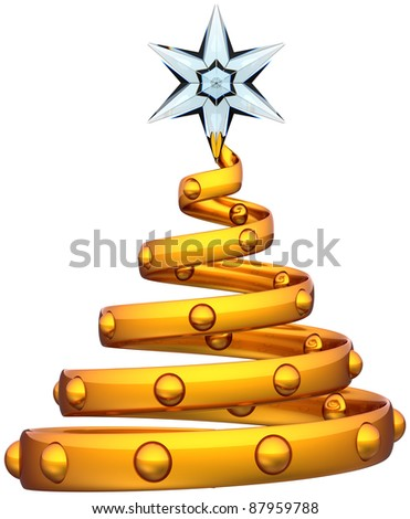 3d gold Christmas tree abstract decoration with Xmas star. Happy New Year bauble beautiful traditional winter wintertime holidays souvenir icon concept. Detailed render. Isolated on white background