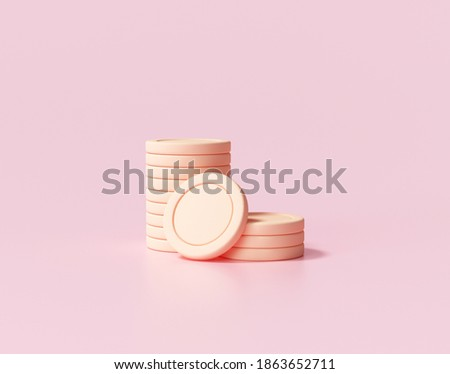 3D Gold Coins Stack on pink background, 3D coins icon for web banner, and mobile application icon. 3D render illustration.