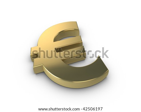 3d gold Euro currency symbol isolated on a white background