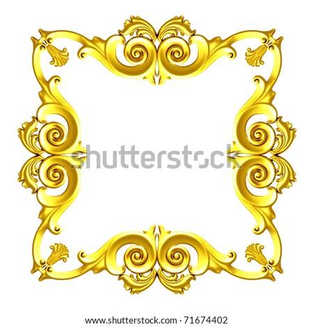 3d gold framework, the sculptural form on a white background