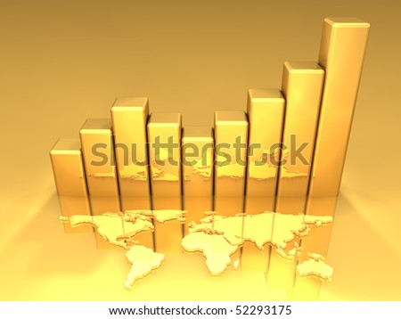 3D gold growth graph with world map. All in gold.