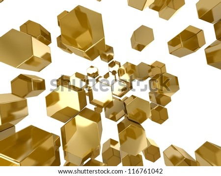 3D gold honeycomb pattern background
