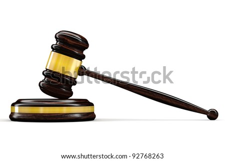 3d Gold Judge gavel