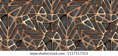 3d gold metal lattice grid on concrete background. High quality seamless realistic texture.