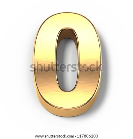 3d Gold metal numbers - number 0