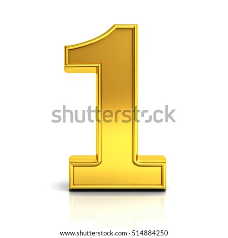 3D gold number one isolated over white background with reflection and shadow. 3D rendering.