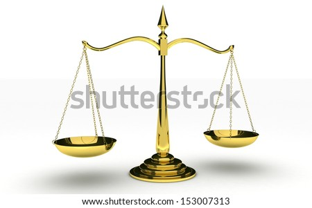 3d Gold scales of justice isolated on white background