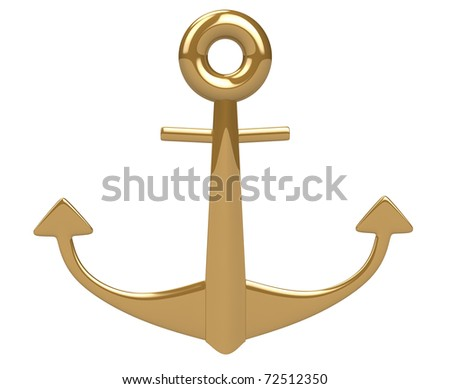 3d gold shiny anchor isolated on white