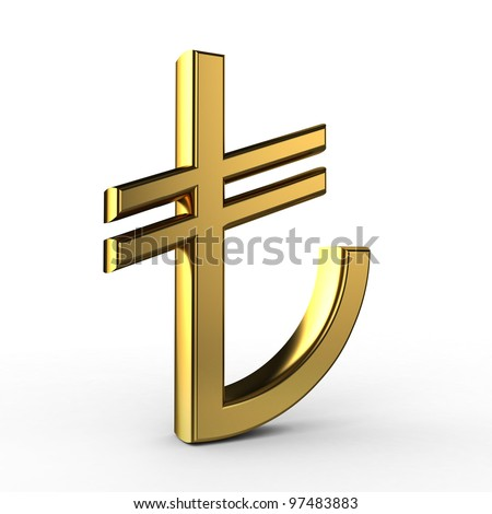3D Gold TL Symbol (Turkish Liras) isolated