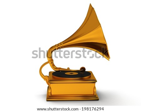 3d gold vintage gramophone isolated on white background. Retro music concept #198176294