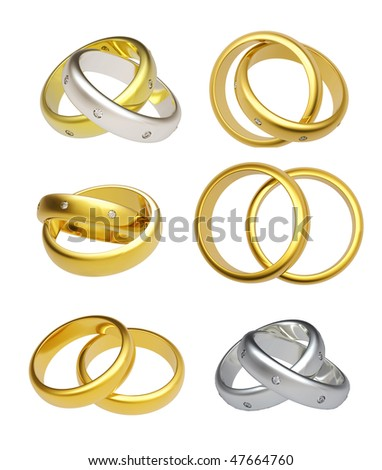 3D gold wedding rings  isolated on white background