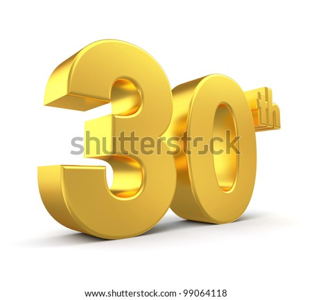 3d golden anniversary - 30th, isolated on white background