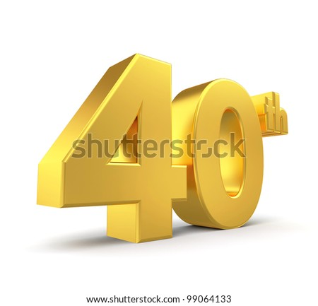3d golden anniversary - 40th, isolated on white background