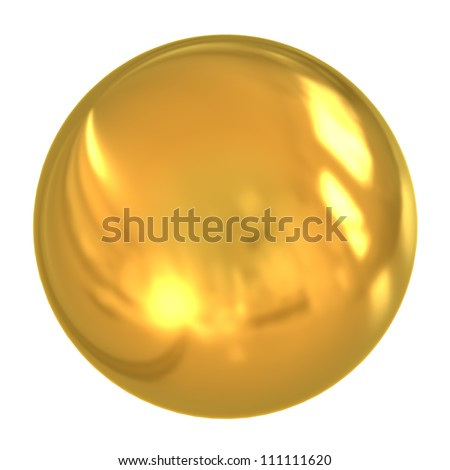 3d golden ball isolated on white background