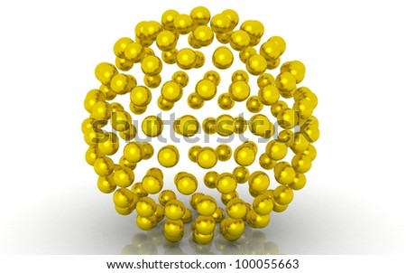 3D golden Balls on white background
