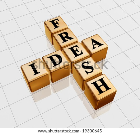 3d golden boxes with black letters with text - fresh idea, crossword