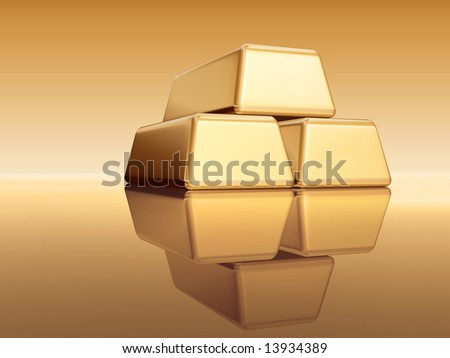3d golden bullions with reflection over golden background