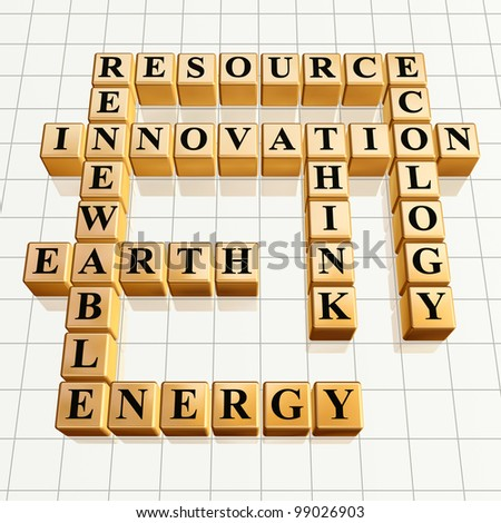 3d golden cubes, crossword - resource, innovation, renewable, Earth, energy, ecology, think